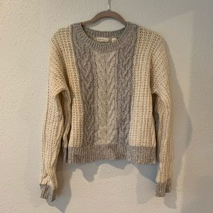 Grey and white anthro sweater